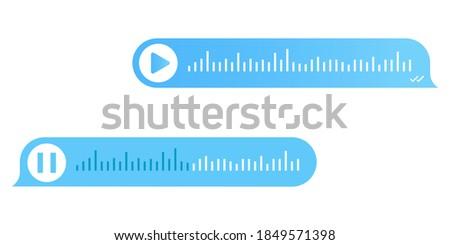 Voice messaging. Voice message icons. Message recording. Voice ntification. Speech bubble icon. Talk bubble. Text message. Chat messenger icon. Digital communication. Chatting concept. EPS 10
