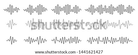 Voice or music audio spectrum. Sound wave line. Soundwave form