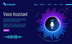 Voice personal online assistant. Landing page design. technology for personal identity recognition and access authentication. Digital audio sound scanner on ultraviolet background.