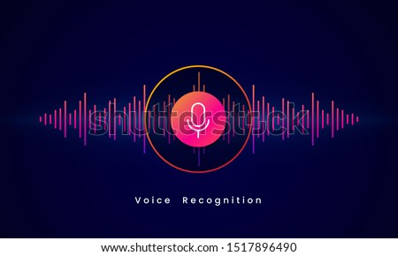 Voice Recognition AI personal assistant modern technology visual concept vector illustration design. Microphone button icon on digital sound wave audio spectrum line background