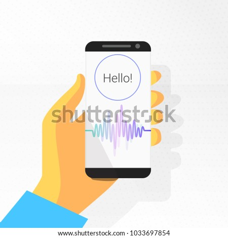 voice recognition. intelligent personal assistant. soundwave on phone in the hand. voice control. sound recording. text: Hello. vector illustration