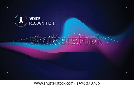 Voice recognition. Personal assistant. Smart music sound waves or voice recognition technology. Concept with microphone ai icon. Futuristic vector background.