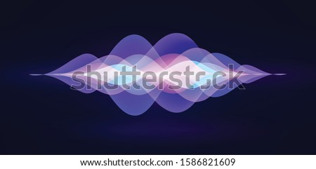 Voice recognition. Personal assistant. Smart music sound waves or voice recognition technology. Soundwave intelligent technologies. Vector illustration. Volume curve energy waveform. Neon Ai concept.