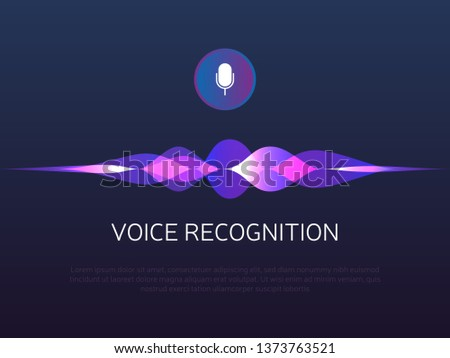 Voice recognition. Sound waves and microphone. Personal assistant and artificial Intelligence. Mic button with gradient soundwaves. Voice imitation and intelligent technologies. Vector illustration.