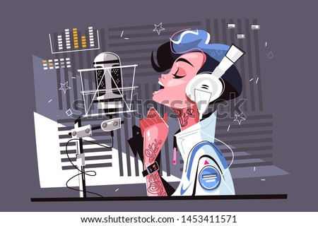 Voice recording studio vector illustration. Pretty cartoon woman in stylish clothes standing with headphones and singing flat style concept. Girl records new song