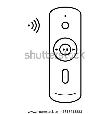 Voice remote control. Vector outline icon isolated on white background.