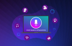 Voice Search Optimization flat vector illustration concept. Optimize the site for audio search using voice assistants service. Adding functionality to the site website for the desktop and mobile.