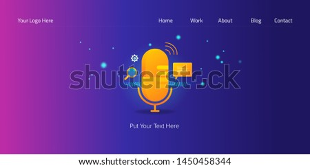 Voice search, voice recognition technology, Voice command - gradient style vector illustration with icons