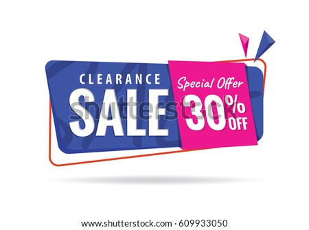 Vol. 2 Clearance Sale  blue pink 30 percent heading design for banner or poster. Sale and Discounts Concept. Vector illustration.