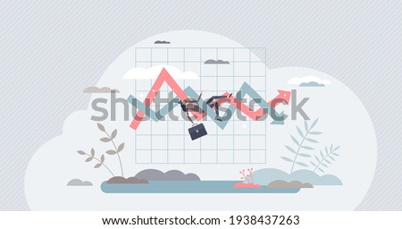 Volatile market, uncertainty in economical stock graph, tiny person concept. Financial business chart with unstable future forecast vector illustration. Money analysis and global trade statistics.