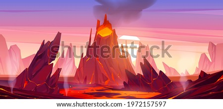 Volcanic eruption illustration. Volcano erupts with hot lava, fire and clouds of smoke, ash and gases. Vector cartoon landscape with rocks, mountain with crater and flow magma at sunset Сток-фото ©