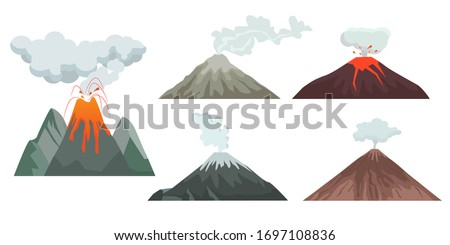 volcano. big mountains hills and rocks with nature force volcano flame magma and lava. travellers danger climbing expedition vector symbols