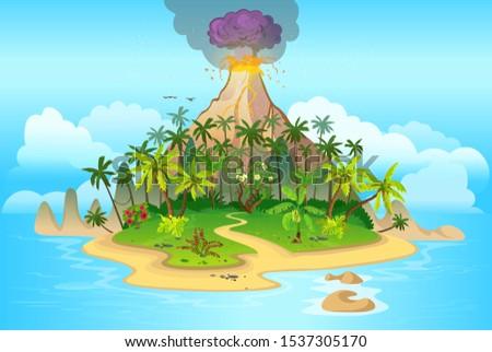 volcano eruption cartoon