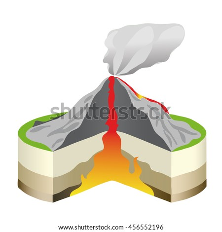 volcano eruption cross section