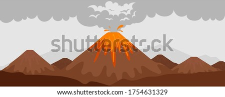 volcano eruption flat color