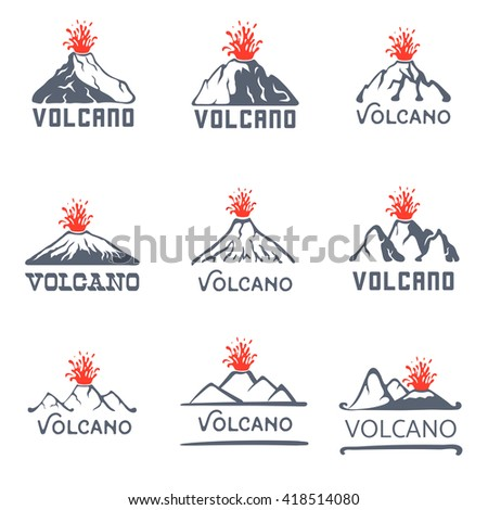 volcano eruption logo set