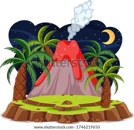 volcano eruption set cartoon