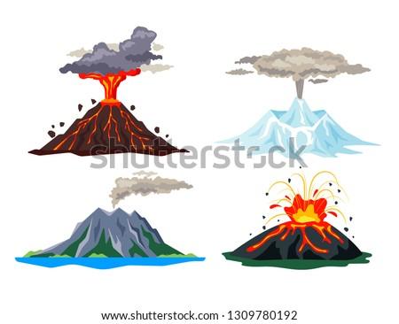 volcano eruption set with magma