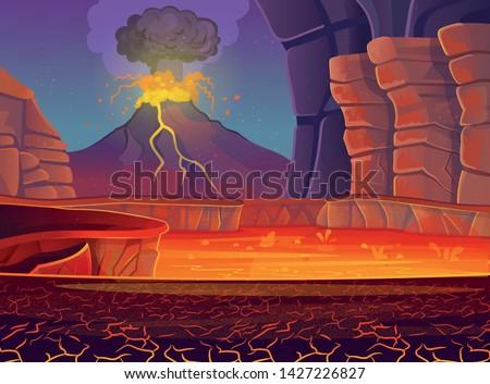 volcano eruption vector
