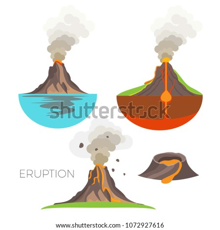 volcano eruption with hot lava
