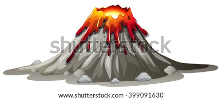 volcano eruption with hot lava
