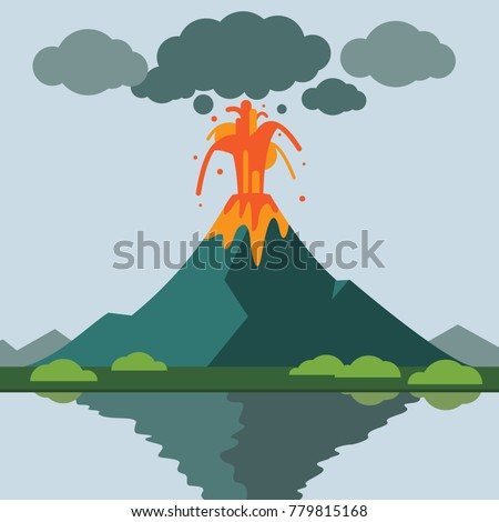 volcano eruption with lava