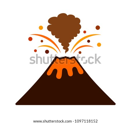 volcano eruption with lava and