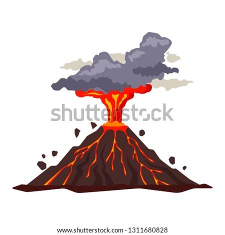 volcano eruption with magma