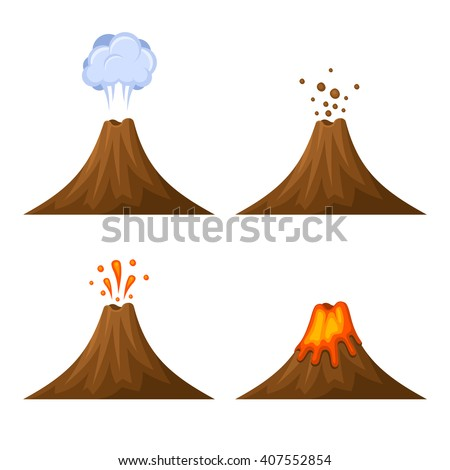 volcano icon set isolated on