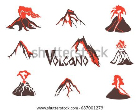 volcano logo set volcanic