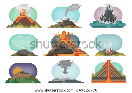 Stock Photo Volcano magma nature blowing up with smoke volcanic eruption lava mountain vector illustration