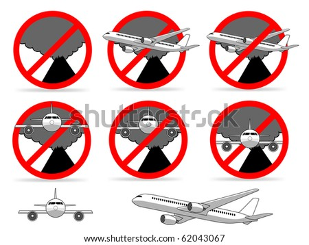 Volcanic ash cloud no fly zone sign. Illustration : Shutterstock