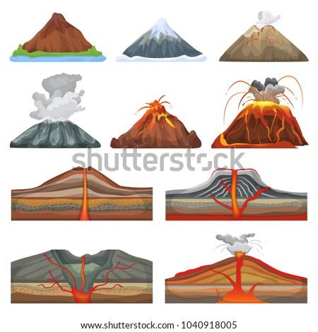 volcano vector eruption and