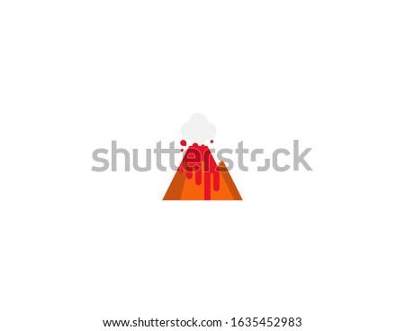 Volcano vector flat icon. Isolated Volcano mountain, lava, crater, hot magma emoji illustration