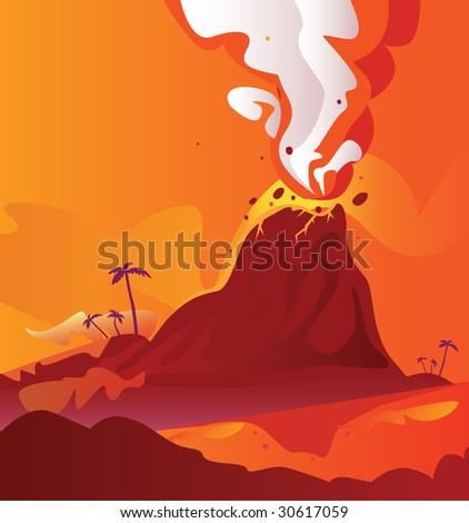 Volcano with burning lava. Vector Illustration of volcano eruption.