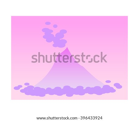 volcano with clouds and fog