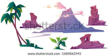 volcano with smoke  rocks and
