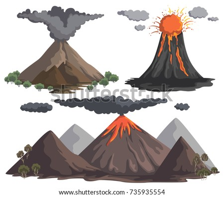 volcanoes with magma  lava and