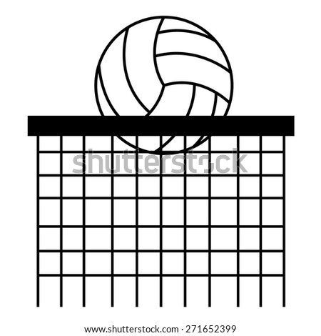 Volley Ball and Net Outline