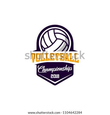 Volleyball badge design logo emblem. Sport emblem insignia templates on a light background