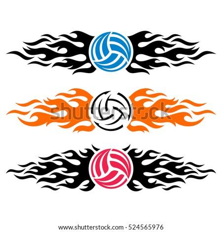volleyball ball flaming vector