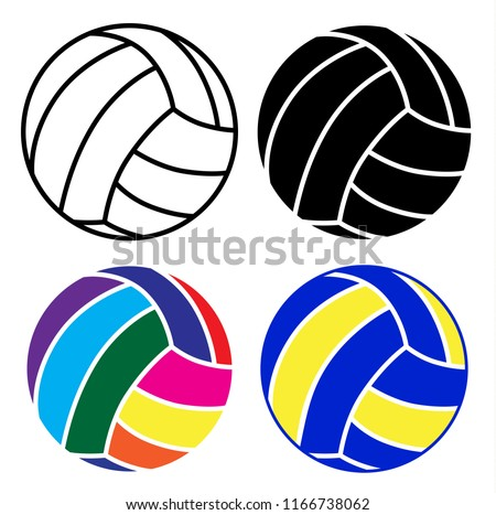 volleyball ball icon set with black, white and colorful ball on white background, vector illustration design
