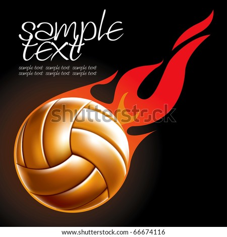 Volleyball Ball Set 4 Fire Ball Vector Drawing