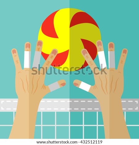 Volleyball block. Valleyball ball, hands and the net. Illustration in flat style