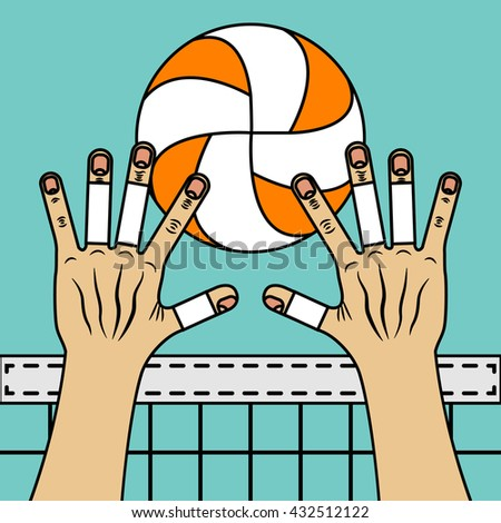 Volleyball block. Valleyball ball, hands and the net. Illustration with black stroke