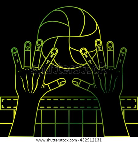 Volleyball block. Valleyball ball, hands and the net. Line art illustration on the black background