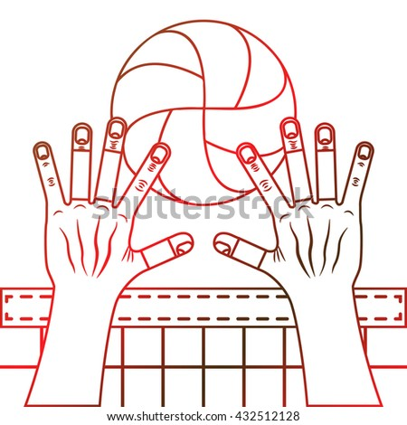 Volleyball block. Valleyball ball, hands and the net. Line art illustration on the white background