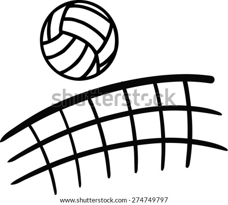 Volleyball flying over net