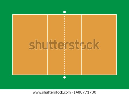 Volleyball gym.illustration of volleyball court.Volleyball court from top view flat design.Field with line template.