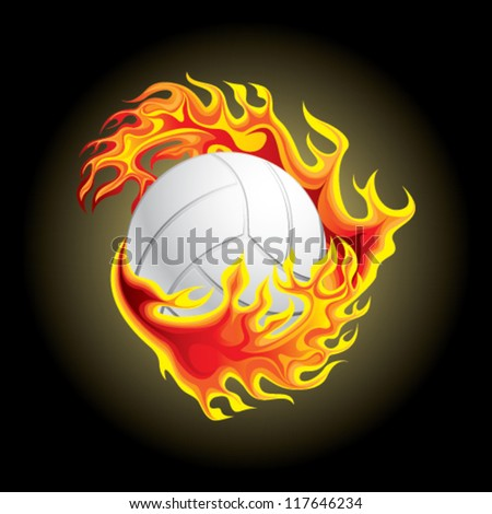 volleyball in flame